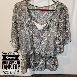 Sheer Elle Blouse with Large Sleeves Size Medium